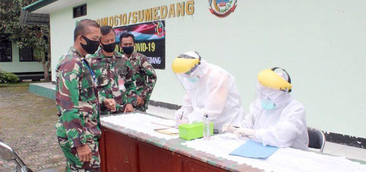 Hari Ke 6 PSBB Seluruh Anggota Kodim 0610 Sumedang di Rapid Test 1