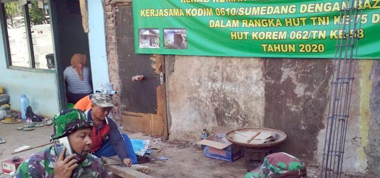 Kodim 0610Sumedang Bersama Baznas Bantu Rehab Rutilahu Milik Didi di Jatinangor