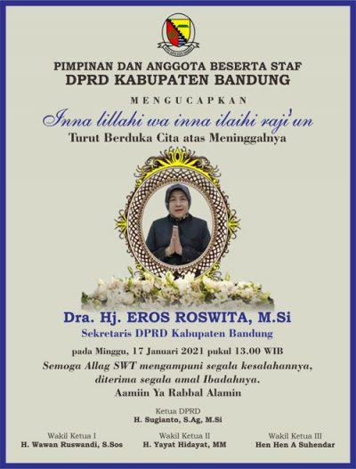 DPRD Kab Bandung mengucapkan Dukacita atas Meninggalnya Eros Roswita Sekretaris DPRD