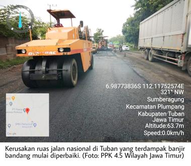 Pasca Terdampak Banjir Kerusakan Jalan Nasional di Tuban Diperbaiki 1