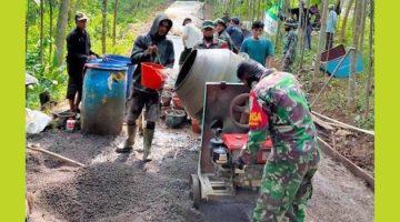 Prajurit TNI dan Warga Desa Kertamukti Tetap Semangat di Pra Ke 110 Kodim 0610 Sumedang