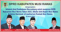 10 DPRD MUSI RAWAS Mengucapkan Selamat atas Pelaksanaan Musrenbang RPMD 2022