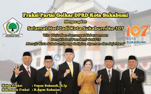 Fraksi Golkar DPRD Kota Sukabumi Mengucapkan Hari Jadi Ke 107 Kota Sukabumi