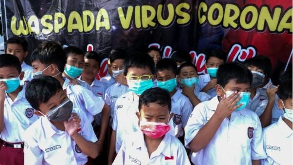 Ilustrasi virus corona di sekolah Antara
